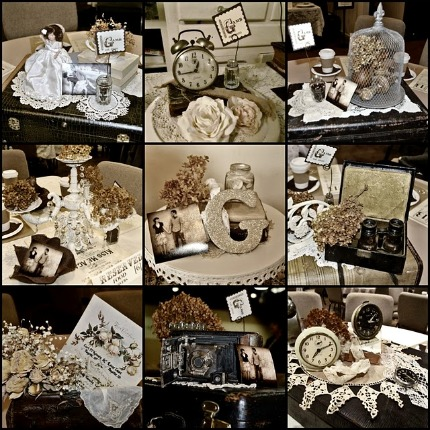These artful collections of vintage objects were the centerpieces for the