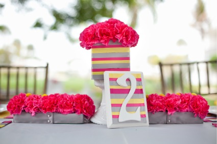 Pink Yellow Gray Modern Ribbon Wedding Inspiration