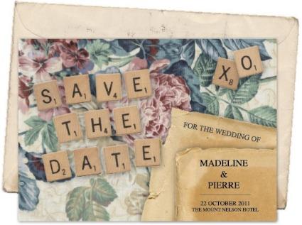 invitaciones de boda con letras de scrabble