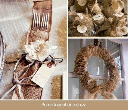 Hessian otherwise known as burlap adds rustic chic to your wedding at very