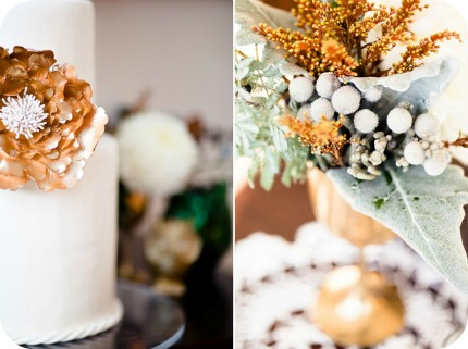 For gorgeous winter wedding inspiration featuring gold grey