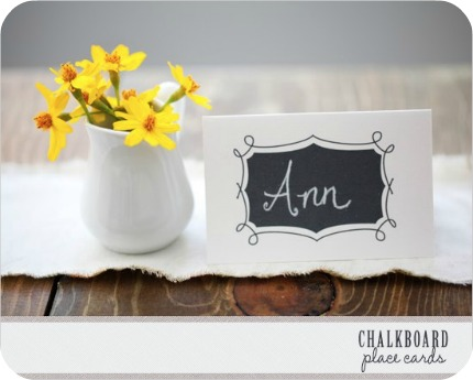 Find free chalkboard place cards and table numbers to download and print at