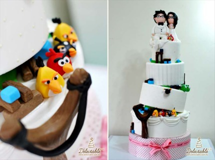 From a whimsical angrybirdthemed wedding cake to elegant glassine favor