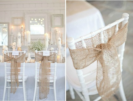 Burlap wrapped chairs are perfect for a beachy or rustic wedding