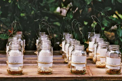Craft Ideas Mason Jars on Mason Jars Filled With Bird Seed And Soy Candles Double As Escort