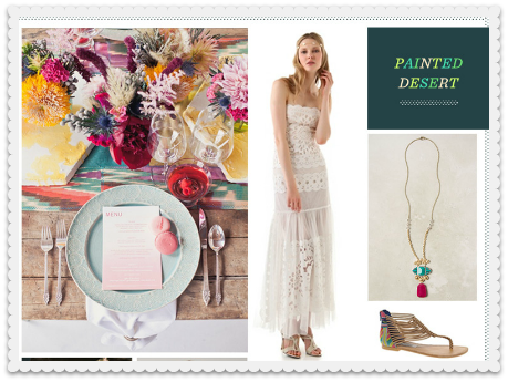 painted desert wedding inspiration board via revel