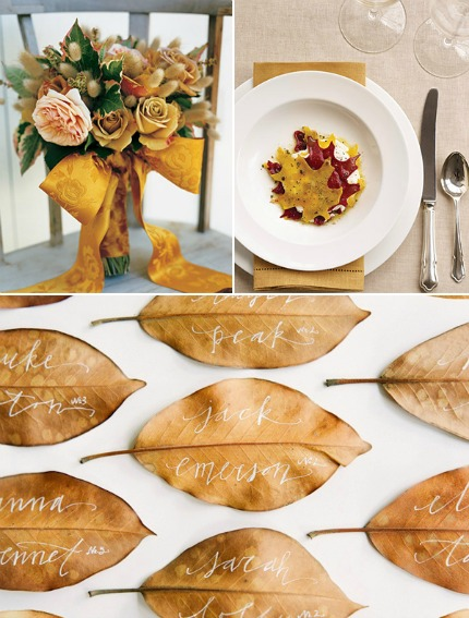 Fall Wedding Inspiration Via Limn & Lovely {Calligraphic Leaves}