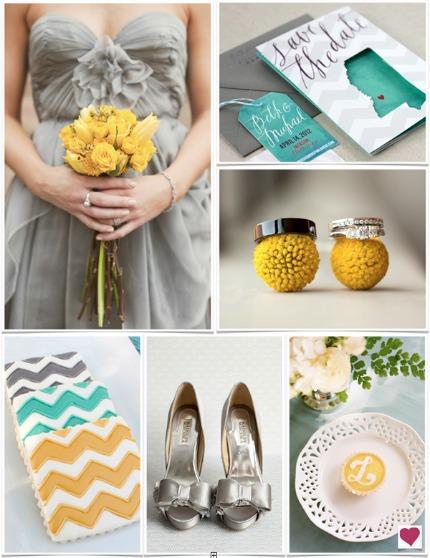 Modern Teal, Gray, & Yellow Wedding Inspiration Via Heart Love Weddings
