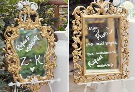 Mirror Wedding Decor via The Bridal Detective