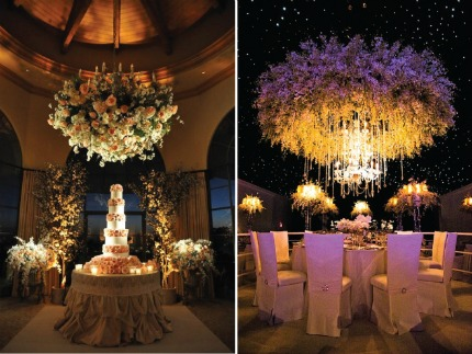 Suspened Wedding Centerpieces + Floral Chandeliers via Belle the Magazine