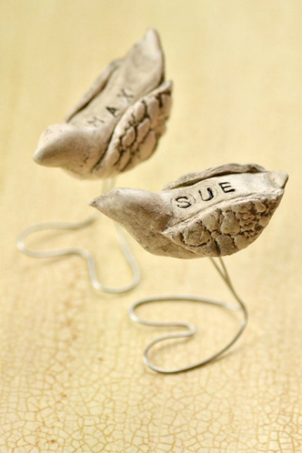 DIY Rustic Bird Name Cards via Intimate Weddings
