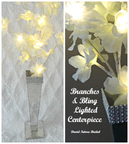 Branches & Bling LIghted Centerpiece via weddings.craftgossip.com