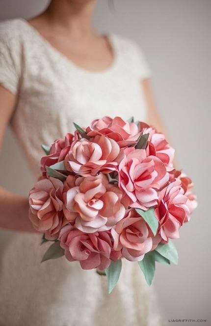Paper Rose Wedding Bouquet via Lia Griffith