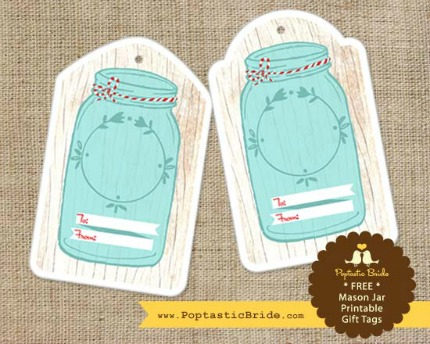 Free Printable Mason Jar Tags from Poptastic Bride