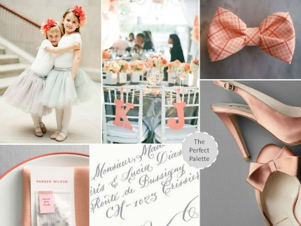 Coral, Gray + Peach Wedding Inspiration theperfectpalette.com