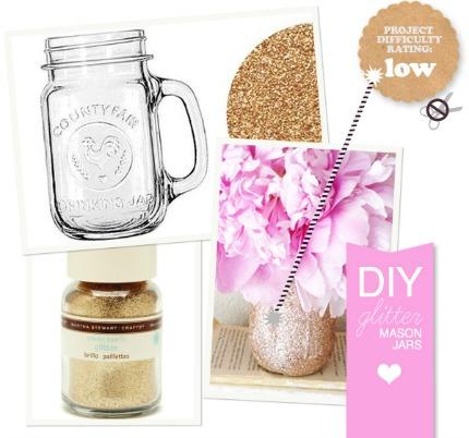 DIY Glitter Mason Jars theknottybride.com