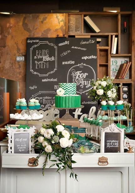 Gorgeous & Green Wedding Dessert Table via Hostess with the Mostess