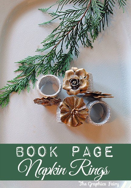 Book Page Napkin Rings Tutorial via The Graphics Fairy