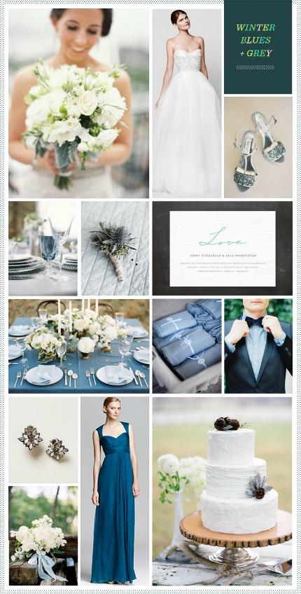 Winter Blues and Grey Wedding Inspiration via Revel Blog