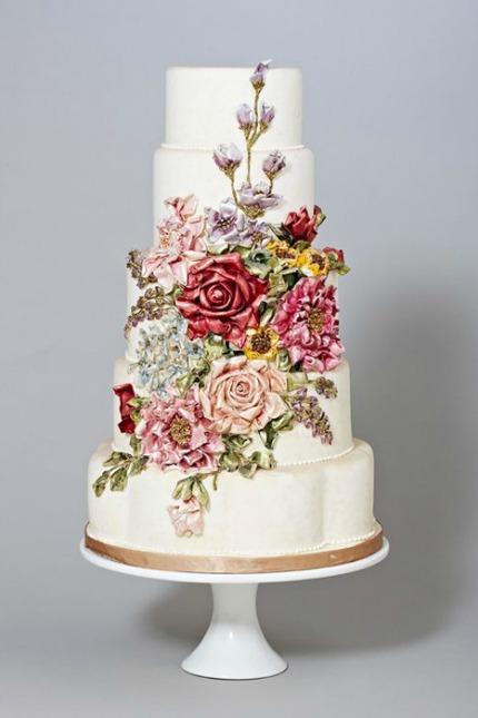 Hand Painted Wedding Cakes via Intimate Weddings