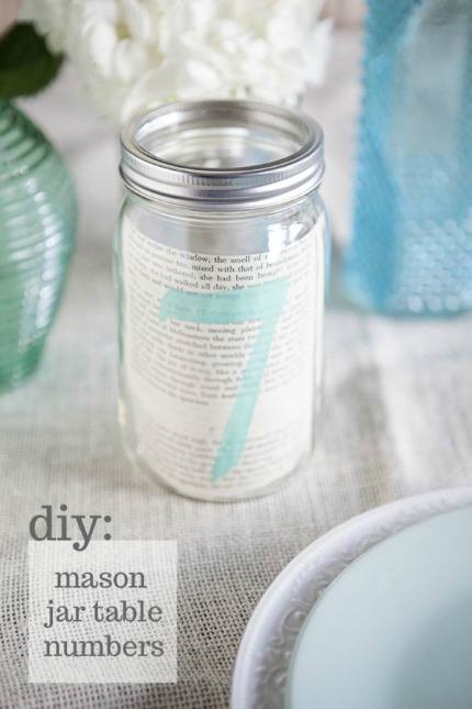 DIY Mason Jar Table Number Tutorial via Something Turquoise