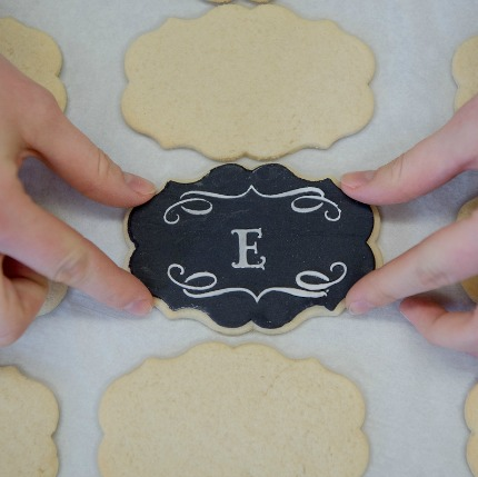 DIY Chalkboard Monogram Cookies via Project Wedding
