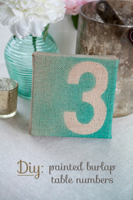 DIY Painted Burlap Table Numbers via Something Turquoise with photo by Studio 11 Photography