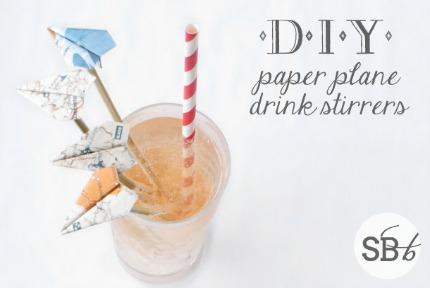 DIY Paper Plane Drink Stirrers via Southbound Bride