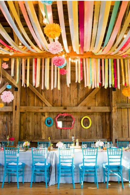 Colorful Ribbons Wedding Decor with Image by Corbin Gurkin via 100 Layer Cake and The Perfect Palette