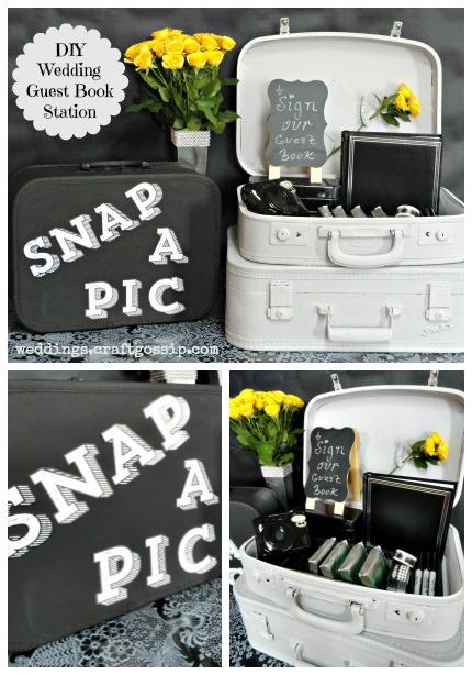 DIY Wedding Guest Book Station via weddings.craftgossip.com FolkArt® Home Decor™ Chalk