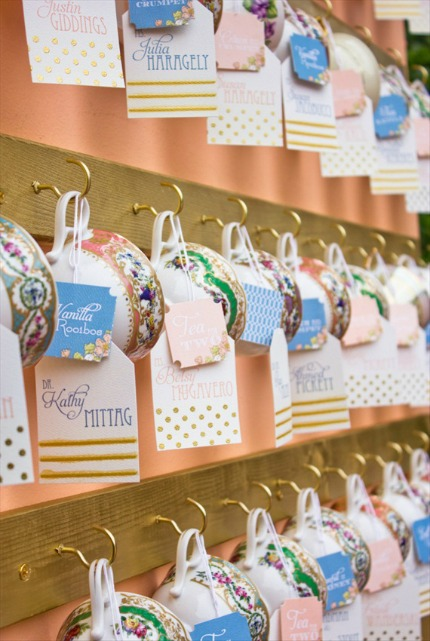 Tea Cup Escort Cards and Favors via Emmaline Bride