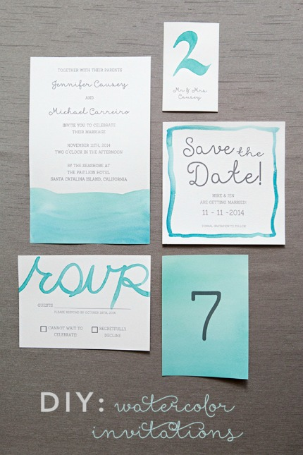DIY Watercolor Wedding Invitations via Something Turquoise