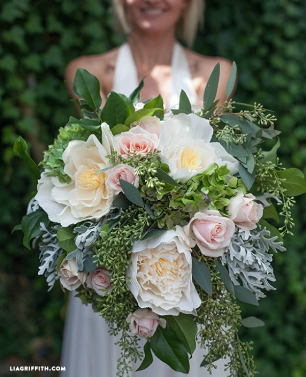 DIY Bridal Bouquet with Fresh and Crepe Paper Flowers via liagriffith.com