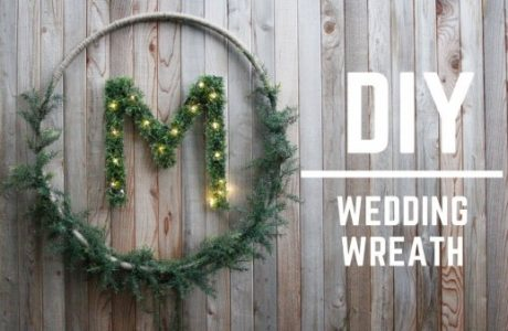 DIY Wedding Initial Wreath Backdrop